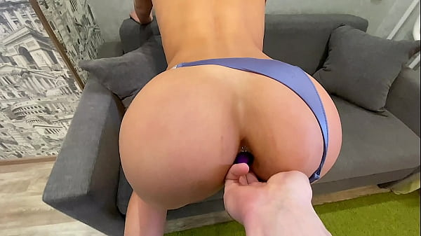 Butt plug and her boyfriend's cock bring her to...