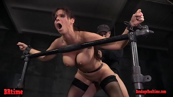 Submissive milf spitroasted by masters