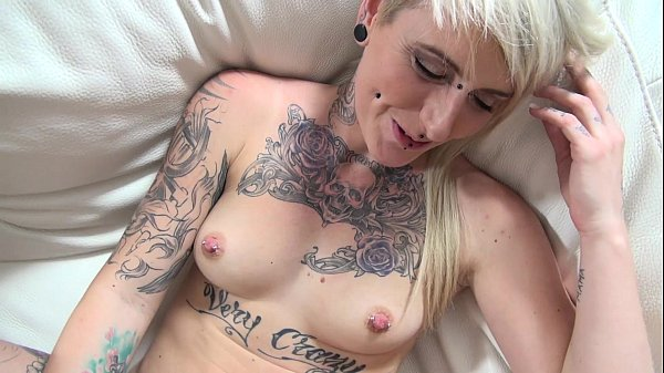 Povbitch Rock tattoo pierced milf spitting sperm after cumshot