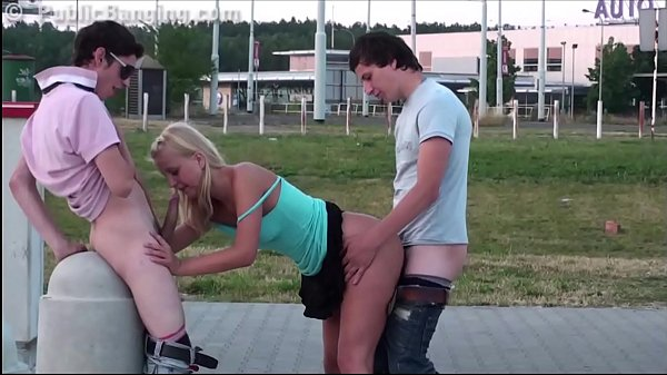 Cute blonde teen girl public gang bang orgy threesome with 2 teen guys