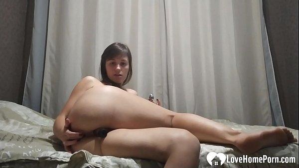 Naughty brunette stepsister fingers her tight wet pussy
