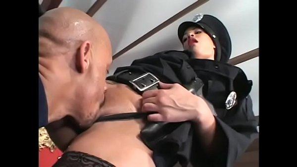 Hot light skinned black slut dressed like cop p...