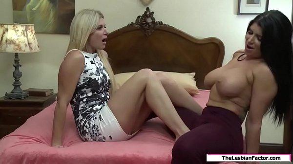 Milf rubs her foot on her bffs huge tits
