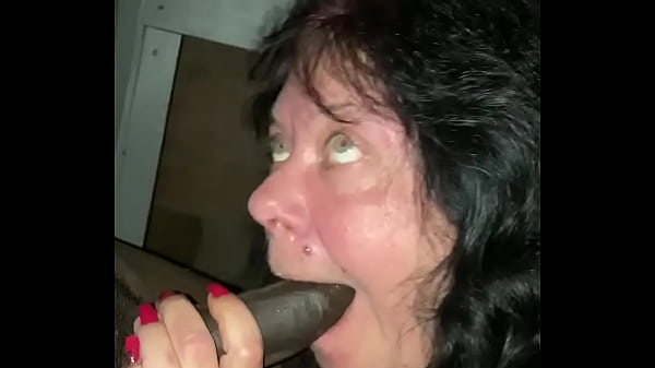 White Granny sucking long black dick