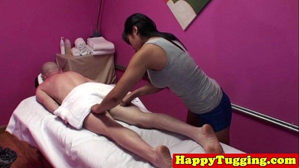 Asian masseuse in handjob threeway