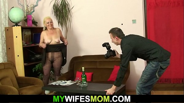 Hairy pussy m.-in-law gets naked and rides cock