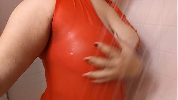 Red dress shower tease