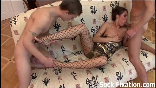 Hot pantyhose foot fetish threesome