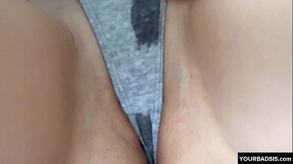 Bad brother cums in sisters panties