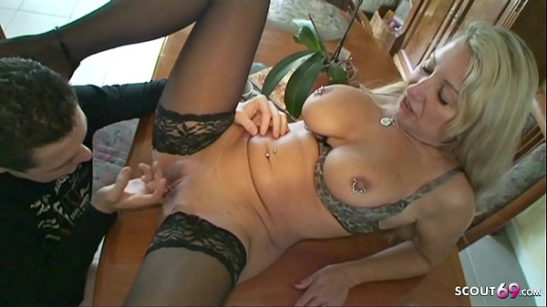 German Big Natural Tits Mature Seduce Young Boy to Fuck