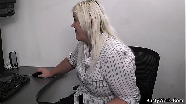 Blonde secretary fatty sucks and fucks on work