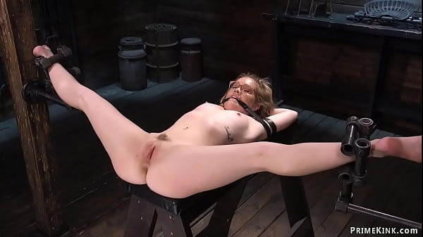 Chained blindfolded blonde tormented Thumb