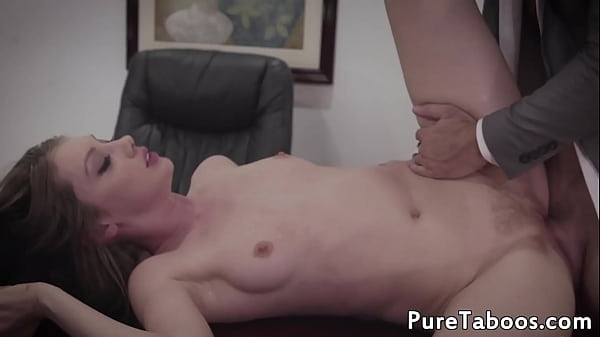 Teen stepdaughter gets filled with jizz