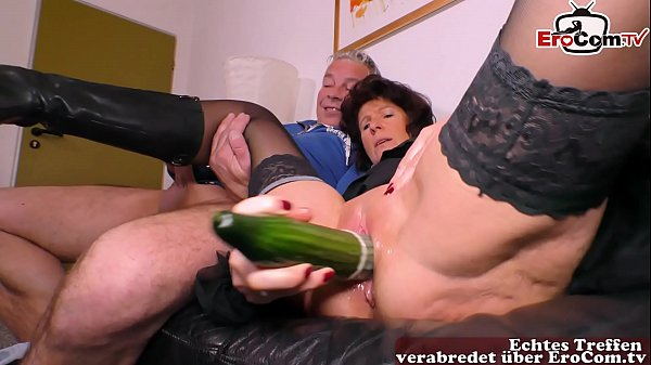 german old ugly housewife fucks with a cucumber...