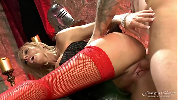 Blonde girl in red fishnet stockings gets her m...