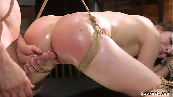 Wet ass brunette sub anal fucked