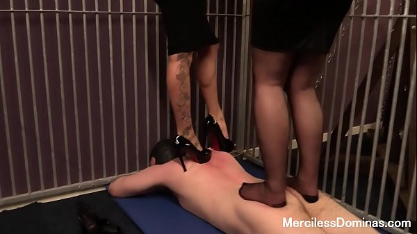 Rough Double Trampling in Cage - Two Pairs of Sharp Heels Digging Deep in Slave's Body Thumb