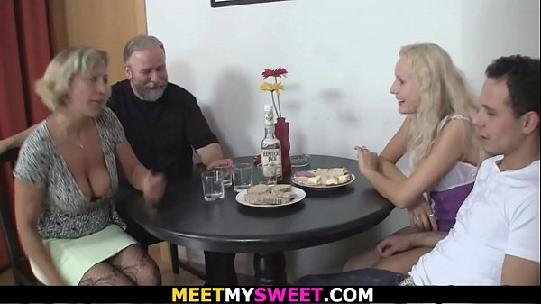 Old couple 3some sex with son's blonde gf