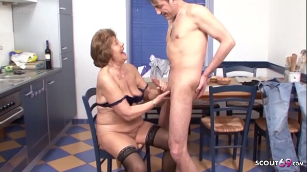 Grandson Seduce Hairy Granny to Fuck - German V...