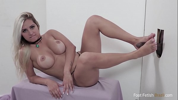 Pornstar Mia Linz sucking big black dick on gloryhole and gives perfect footjob!! Cum on her mouth! Foot fetish action