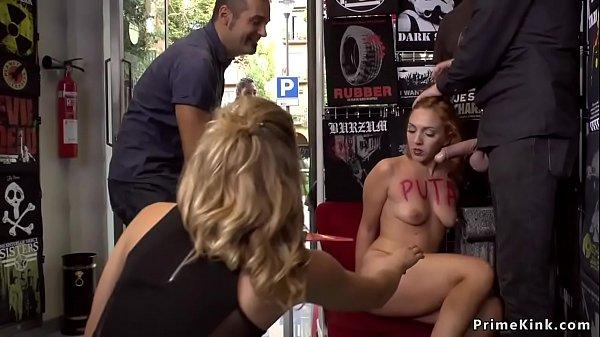 Euro brunette bangs in public shop