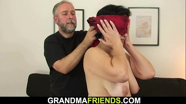 Old hairy grandma gets toyed before threesome fuck