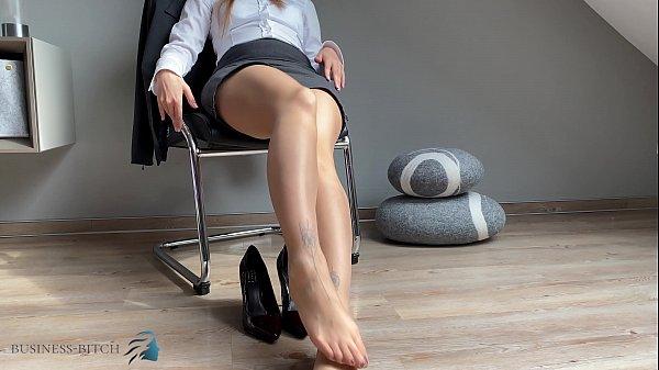 secretary feet in pantyhose & high heels, Business Bitch