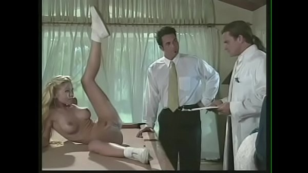Naughty blonde cheerleaders Allysin Chaynes and Julie Meadows take part in special experiment with handsome doctor Thumb