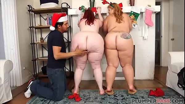 Two Huge Booty BBWS Surprise Fake Santa Claus