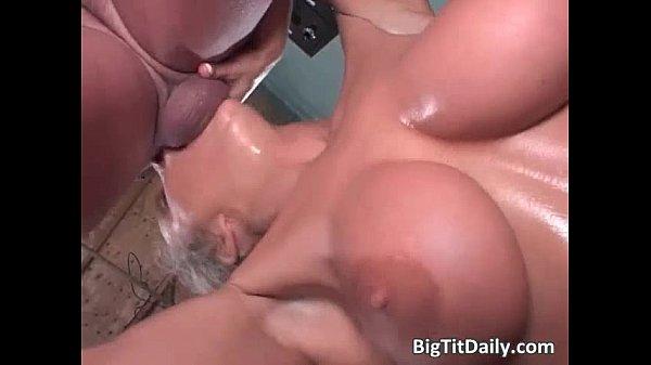 Busty MILF sucks dudes stiff boner