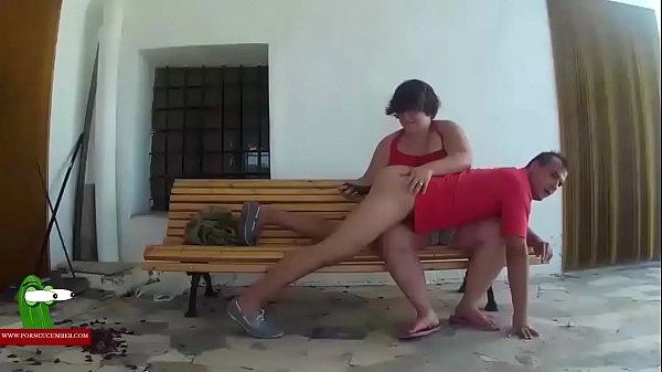The fat girl sticks a cucumber in the ass of her boy ADR0525
