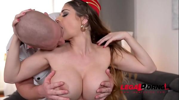 Horny pilot ass fucks top-heavy stewardess Cathy Heaven in hotel room GP663