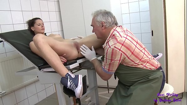 Girl goes to the old doctor who fucks her in the surgery and cums on his face