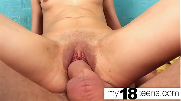 MY18TEENS - Skinny Teen Pussy Fucking Huge Cock and Cum in Mouth Thumb