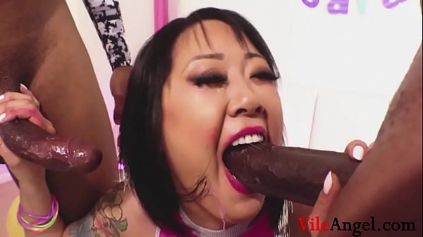 Asian Slut Fucks Two BBC- Rico Strong