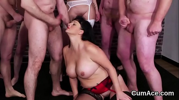 Feisty peach gets jizz load on her face sucking all the jism