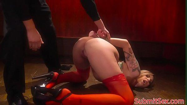 Blonde spreadeagle sub gagged for fucking