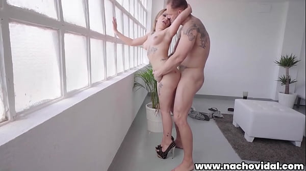 Melany bounces her little body atop the older man's massive meat. She opens wide for a creamy mouthful of cum