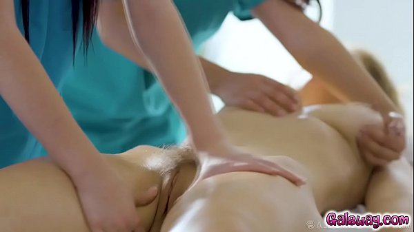 Masseuse Jade Baker invites Violet Myer to massage parlor owner Lena Pauls pussy