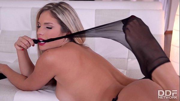 Eva Parcker seduces us in Pantyhose with Foot Fetish Masturbation