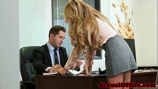 Busty office secretary banged over the table  thumbnail