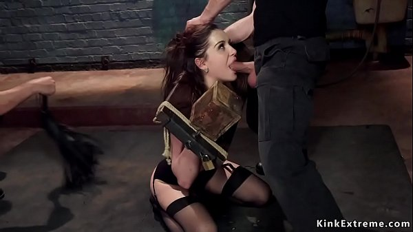 Brunette punished with electrode pads