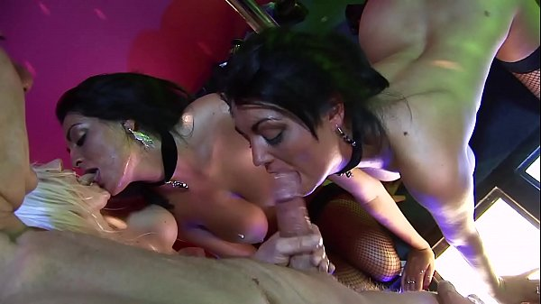 Ass Fucking Orgy at British Swinger's Club. Strippers & Waitress Team up for Anal Gangbang