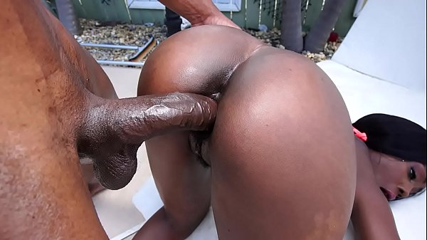 Beautiful black babe gets fucked hard by a huge black cock - black porn