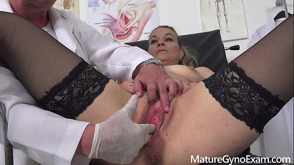 Horny mature woman Valerie Voss on her old pussy exam