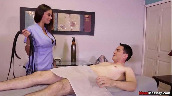 mean-Super hot brunette punishes a poor man