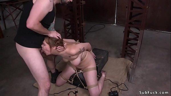 Busty slave deep throat fucked on Sybian