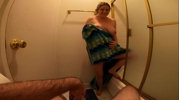 Stepbrother caught masturbating in the bathroom fucks his stepsister
