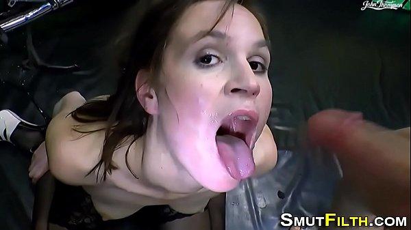 Euro whore swallows cum
