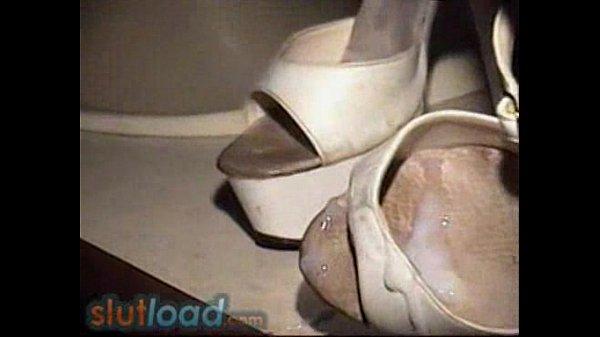 Fuck and cum on peep toe heels